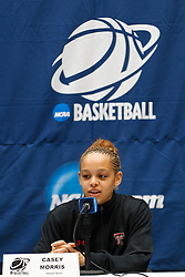 March 18, 2011; Stanford, CA, USA; Texas Tech Lady Raiders guard Casey Morris (15) speaks at a press conference the day before the first round of the 2011 NCAA women's basketball tournament at Maples Pavilion.