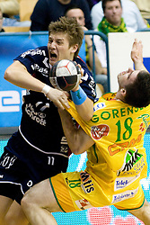 Lasse Svan Hansen and Miha Gorensek at handball quarter final EHF Cup match between RK Celje Pivovarna Lasko and SG Handewitt Flensburg, on April 3, 2010, Dvorana Zlatorog, Celje, Slovenia. Flensburg won 32:35. (Photo by Matic Klansek Velej / Sportida)