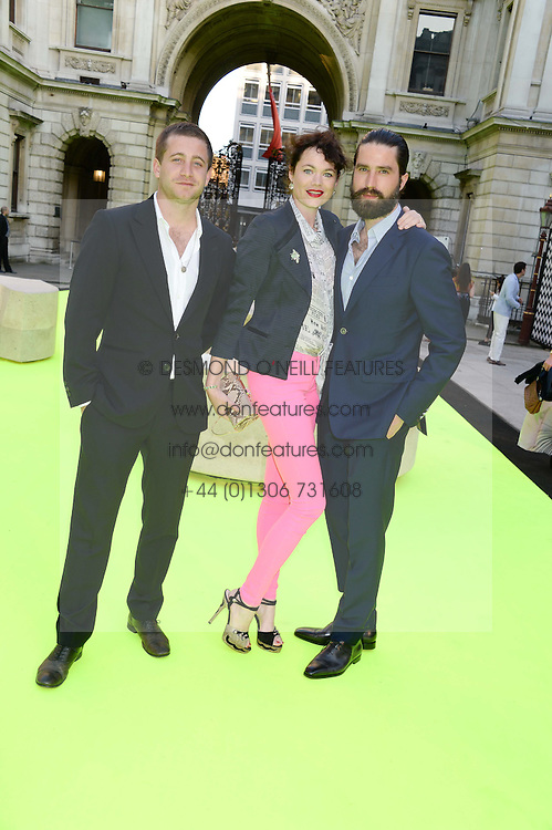 Left to right, TYRONE WOOD, JASMINE GUINNESS and JACK GUINNESS at the preview party for The Royal Academy Of Arts Summer Exhibition 2013 at Royal Academy of Arts, London on 5th June 2013.