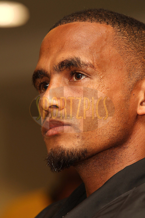 Tyren Arendse captain of Engen Santos FC Snr Team during the Engen Knockout Challenge Media Conference held at Athlone Stadium in Cape Town on the 13th September 2012..Photo by Shaun Roy/ SPORTZPICS..