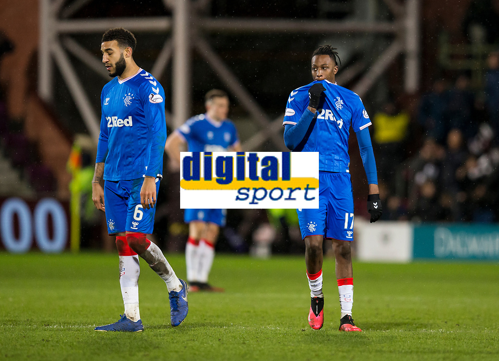 Football - 2019 / 2020 William Hill Scottish Cup - Quarter-Final: Heart of Midlothian vs. Rangers<br /> <br /> Joe Aribo of Rangers and Connor Goldson of Rangers at full time, at Tynecastle Park, Edinburgh.<br /> <br /> COLORSPORT/BRUCE WHITE