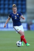 Emma Mitchell (#3) of Scotland on the ball during the FIFA Women's World Cup UEFA Qualifier match between Scotland Women and Belarus Women at Falkirk Stadium, Falkirk, Scotland on 7 June 2018. Picture by Craig Doyle.