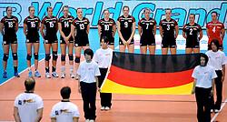 20-08-2009 VOLLEYBAL: WGP FINALS DUITSLAND - NEDERLAND: TOKYO<br /> Nederland wint ook de tweede wedstrijd. Ditmaal werd Duitelsnad met 3-2 verslagen / Volkslied Duitsland line up<br /> ©2009-WWW.FOTOHOOGENDOORN.NL