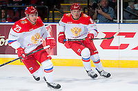 KELOWNA, CANADA - NOVEMBER 9: Artur Lauta #23 and Andrey Svetlakov # 8 of Team Russia skates against the Team WHL on November 9, 2015 during game 1 of the Canada Russia Super Series at Prospera Place in Kelowna, British Columbia, Canada.  (Photo by Marissa Baecker/Western Hockey League)  *** Local Caption *** Artur Lauta; Andrey Svetlakov;