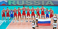 Russia's team stand while national athem before  volleyball match between Brazil and Russia during the 2014 FIVB Volleyball World Championships at Spodek Hall in Katowice on September 14, 2014.<br /> <br /> Poland, Katowice, September 14, 2014<br /> <br /> For editorial use only. Any commercial or promotional use requires permission.<br /> <br /> Mandatory credit:<br /> Photo by © Adam Nurkiewicz / Mediasport