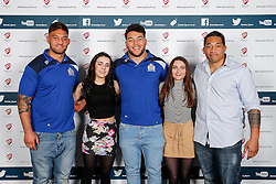 Jack Lam, Ellis Genge and Anthony Perenise of Bristol Rugby pose during the Player Sponsors' Dinner in the Heineken Lounge at Ashton Gate - Mandatory byline: Rogan Thomson/JMP - 08/02/2016 - RUGBY UNION - Ashton Gate Stadium - Bristol, England - Bristol Rugby Player Sponsors' Dinner.