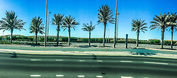 An iPhone6 panoramic image on a road in Saaydiyat, Abu Dhabi. Images from the MSC Musica cruise to the Persian Gulf, visiting Abu Dhabi, Khor al Fakkan, Khasab, Muscat, and Dubai, traveling from 13/12/2015 to 20/12/2015.