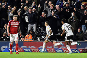 Goal - Anthony Knockaert (24) of Fulham celebrates after he scores a goal to give a 1-0 lead during the EFL Sky Bet Championship match between Fulham and Middlesbrough at Craven Cottage, London, England on 17 January 2020.
