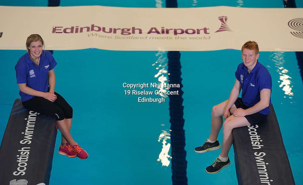 Scottish Swimming Announces New Partnership with Edinburgh Airport<br /> Scottish Swimming and Edinburgh Airport are delighted to announce a new partnership to support Scottish Swimming national events, in particular the Scottish National Diving Championships &amp; Thistle Trophy and the Scottish National Short Course Swimming Championship, both of which are held at the Royal Commonwealth Pool in Edinburgh during December. <br /> <br /> Scottish Divers Grace Reid and James Heatly celebrate the new partnership at the Royal Commonwealth Pool, Edinburgh<br /> <br />  Neil Hanna Photography<br /> www.neilhannaphotography.co.uk<br /> 07702 246823