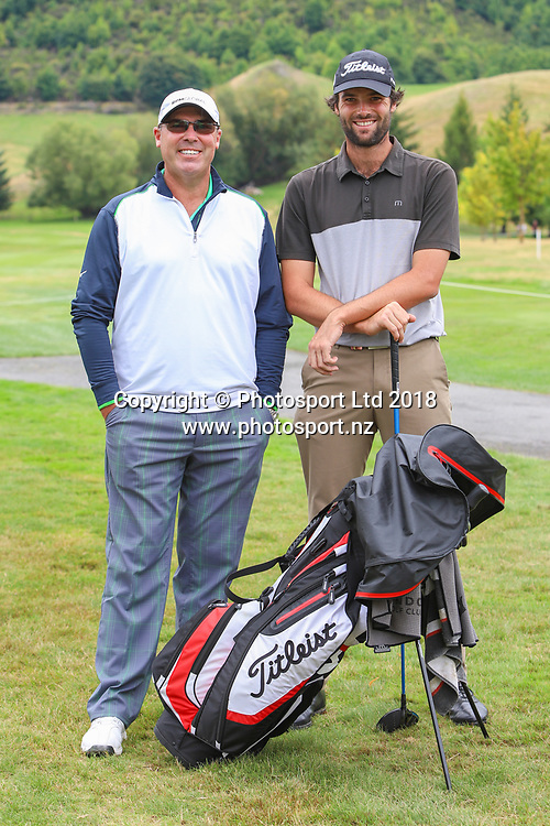 Richard Mathews & Simon Hawkes, Day 1 of the 2018 ISPS Handa New Zealand Golf Open. Millbrook golf course, Arrowtown, New Zealand. Thursday 1 March 2018. © Copyright Photo: Richard Greenfield / www.photosport.nz