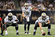 NEW ORLEANS, LA - SEPTEMBER 20:  Drew Brees #9 points to a defender to block during a game against the Tampa Bay Buccaneers at Mercedes-Benz Superdome on September 20, 2015 in New Orleans Louisiana. The Buccaneers defeated the Saints 26-19.  (Photo by Wesley Hitt/Getty Images) *** Local Caption *** Drew Brees