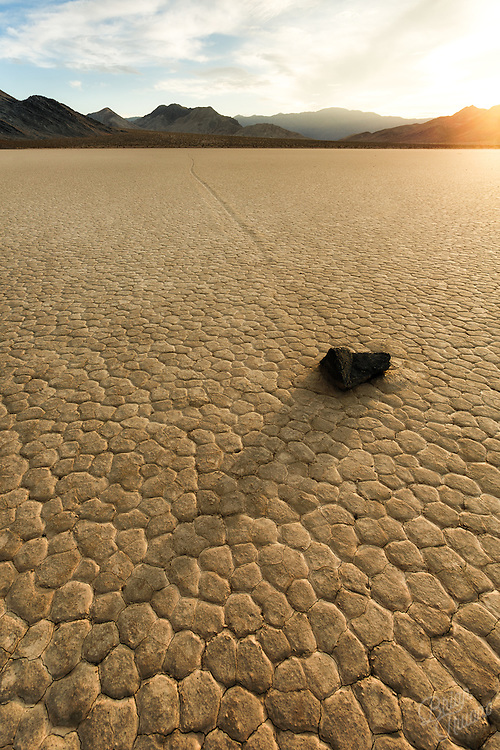 It's quite fascinating to make sense of the geology and physics taking place here at Racetrack Playa in Death Valley National Park. None of it would be possible without the energy from the Sun. Since that energy fuels our atmosphere providing rain cycles, temperature fluctuations, and dry conditions to make these sailing stones move across the playa. You could say this stone is traveling at the speed of light…