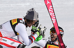 19.02.2017, St. Moritz, SUI, FIS Weltmeisterschaften Ski Alpin, St. Moritz 2017, Slalom, Herren, 2. Lauf, im Bild v.l. Manuel Feller (AUT, Herren Slalom Silbermedaille), Marcel Hirscher (AUT, Herren Slalom Herren Slalom Weltmeister und Goldmedaille) // f.l. men's Slalom Silver medalist Manuel Feller of Austria, men's Slalom world Champion and Gold medalist Marcel Hirscher of Austria during react after the 2nd run for the men's Slalom of the FIS Ski World Championships 2017. St. Moritz, Switzerland on 2017/02/19. EXPA Pictures © 2017, PhotoCredit: EXPA/ Sammy Minkoff<br /> <br /> *****ATTENTION - OUT of GER*****