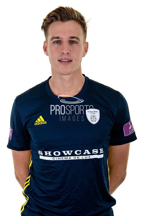 Brad Wheal of Hampshire in Royal London One Day Cup kit  during the Hampshire County Cricket Club Media Day at the Ageas Bowl, Southampton, United Kingdom on 10 April 2018. Picture by Dave Vokes.