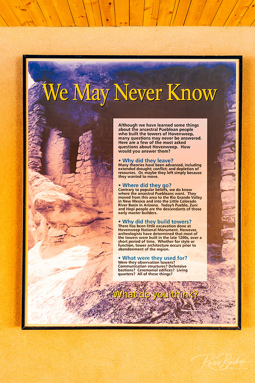 Interpretive sign, Hovenweep National Monument, Utah USA