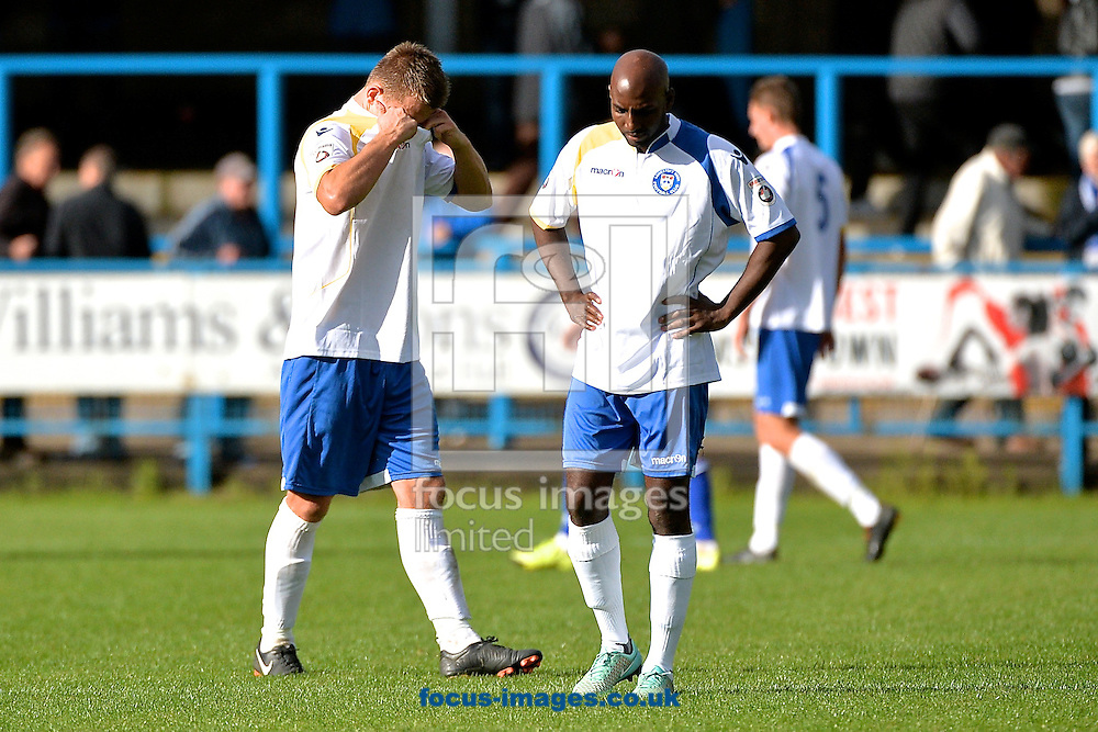 Jake Reed (left) and Bradley Woods-Garness of Lowestoft Town are disappointed following the Conference North match at Bower Fold, Stalybridge<br /> Picture by Ian Wadkins/Focus Images Ltd +44 7877 568959<br /> 12/09/2015