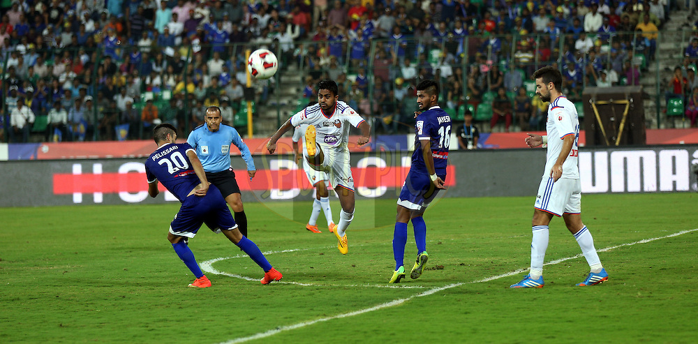 Mandar Rao Dessai of FC Goa in action during match 50 of the Hero Indian Super League between Chennaiyin FC and FC Goa held at the Jawaharlal Nehru Stadium, Chennai, India on the 5th December 2014.<br /> <br /> Photo by:  Sandeep Shetty/ ISL/ SPORTZPICS
