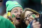 Irish rugby fans during the Rugby World Cup Quarter Final match between Ireland and Argentina at Millennium Stadium, Cardiff, Wales on 18 October 2015. Photo by Shane Healey.