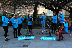 Minister for Europe, Migration and International Development Ben Macpherson launched the annual St Andrew's Day campaign in Edinburgh today.<br /> <br /> The #MakeSomeonesDay campaign is a rallying call to encourage the public to spread a little kindness this St Andrew's Day (30 November).<br /> <br /> Pictured: The Nevis Ensemble Street Orchestra<br /> <br /> Alex Todd | Edinburgh Elite media