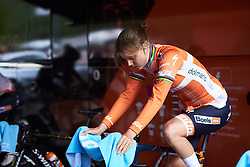 Amalie Dideriksen (DEN) warms up for UCI Road World Championships 2018 - Women's Team Time Trial, a 54 km team time trial in Innsbruck, Austria on September 23, 2018. Photo by Sean Robinson/velofocus.com