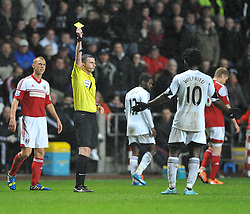 Swansea City's Wilfried Bony gets booked. - Photo mandatory by-line: Alex James/JMP - Tel: Mobile: 07966 386802 28/01/2014 - SPORT - FOOTBALL - Liberty Stadium - Swansea - Swansea City v Fulham - Barclays Premier League