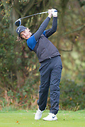 Tommy Fleetwood of England tees off during the British Masters 2018 at Walton Heath Golf Course, Walton On the Hill, Surrey on 14 October 2018. Picture by Martin Cole.