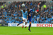 Sean Morrison (4) of Cardiff City denies Raheem Sterling (7) of Manchester City a goal scoring chance during the Premier League match between Cardiff City and Manchester City at the Cardiff City Stadium, Cardiff, Wales on 22 September 2018.