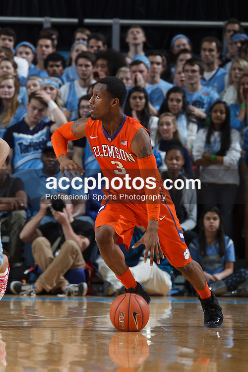 CHAPEL HILL, NC - JANUARY 26: Adonis Filer #3 of the Clemson Tigers plays the North Carolina Tar Heels on January 26, 2014 at the Dean E. Smith Center in Chapel Hill, North Carolina. North Carolina won 61-80. (Photo by Peyton Williams/UNC/Getty Images) *** Local Caption *** Adonis Filer