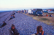 Campsite beside beach, The Mother Festival, Somerset, 1995