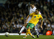 Leeds - Monday October 19th, 2009: Sam Vokes (L) of Leeds United and Adam Drury of Norwich City during the Coca Cola League One match at Elland Road, Leeds. (Pic by Paul Thomas/Focus Images)..