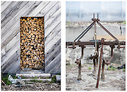 Woodshed at Salty Dog Farm in Milbridge, Maine, and farm equipment at the Tibbetts family farm in Lyman, ME
