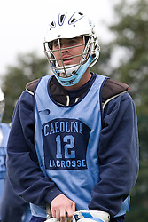 14 April 2008: North Carolina Tar Heels men's lacrosse midfielder Brian Connors (12) during a practice day in Chapel Hill, NC.