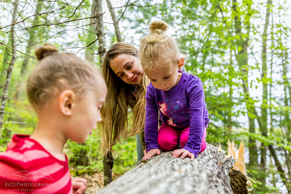A woman shows a dragonfly to young girls in the woods at the Orris Falls Preserve in South Berwick, Maine.