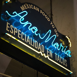 Sign of one of the food vendors in the Grand Central Market located in downtown Los Angeles. The market, which opened in 1917, is home to food and drink vendors.