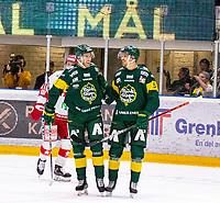 2020-01-17 | Umeå, Sweden: Björklöven (19) Kristoffer Söder score 2-0 in HockeyAllsvenskan during the game  between Björklöven and Timrå at A3 Arena ( Photo by: Michael Lundström | Swe Press Photo )<br /> <br /> Keywords: Umeå, Hockey, HockeyAllsvenskan, A3 Arena, Björklöven, Timrå, mlbt200117, happy happiness celebration celebrates