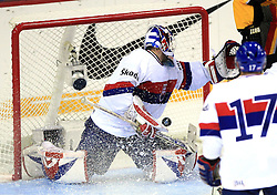 Goalkeeper Jan Lasak get a goal at ice-hockey match Germany (played in old replika jerseys from year 1946) vs Slovakia at Preliminary Round (group C) of IIHF WC 2008 in Halifax, on May 05, 2008 in Metro Center, Halifax, Nova Scotia, Canada. Germany won 4:2. (Photo by Vid Ponikvar / Sportal Images)