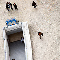 Aerial view of the subway entrance at Restauradores, Lisbon, Portugal