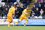 Port Vale midfielder David Worrall (10) scores a goal 1-0 and celebrates during the EFL Sky Bet League 2 match between Grimsby Town FC and Port Vale at Blundell Park, Grimsby, United Kingdom on 10 March 2018. Picture by Mick Atkins.
