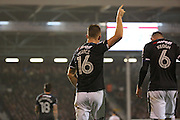 Derby County defender Alex Pearce (16) celebrating scoring  2-2 during the EFL Sky Bet Championship match between Fulham and Derby County at Craven Cottage, London, England on 17 December 2016. Photo by Matthew Redman.