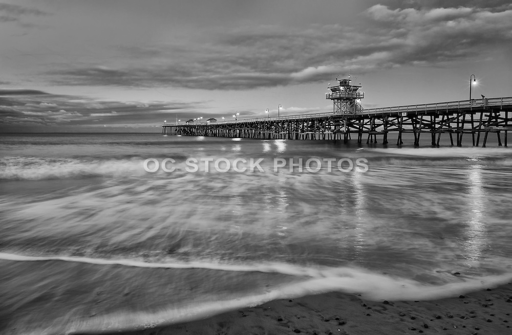 San Clemente Pier Black and White Stock Photo