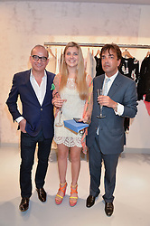 Left to right, TOUKER SULEYMAN, ALLEGRA HENDERSON and her father JAMES HENDERSON at a party to celebrate the re-launch of the Ghost Flagship store at 120 King's Road, London on 15th April 2015.