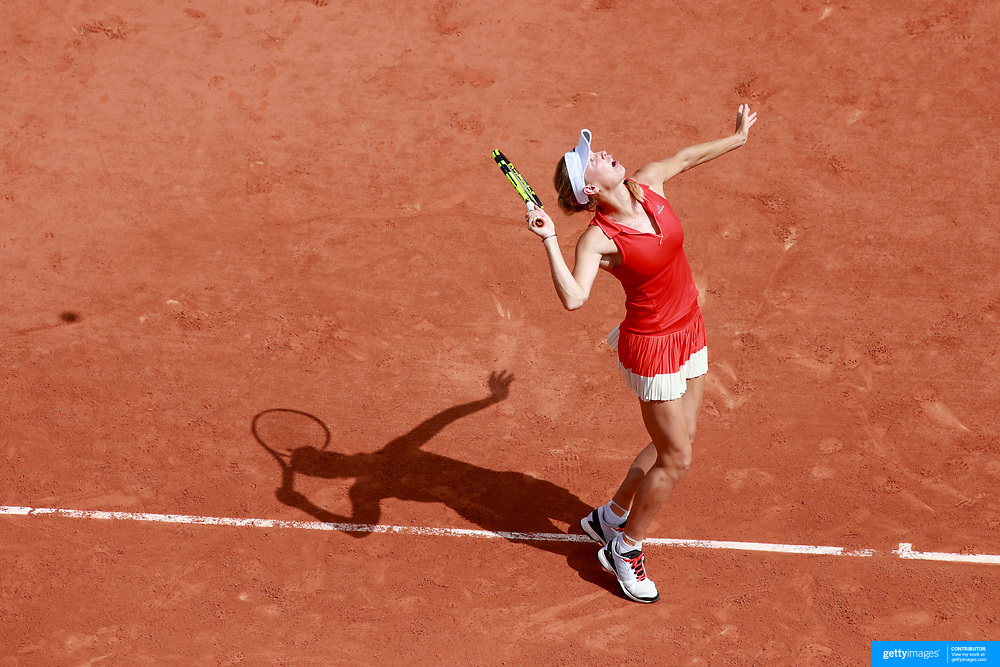 2017 French Open Tennis Tournament - Day Two.  Caroline Wozniacki of Denmark in action against Jaimee Fourlis of Australia on court Suzanne-Lenglen during the Women's Singles Round one match at the 2017 French Open Tennis Tournament at Roland Garros on May 29th, 2017 in Paris, France.  (Photo by Tim Clayton/Corbis via Getty Images)