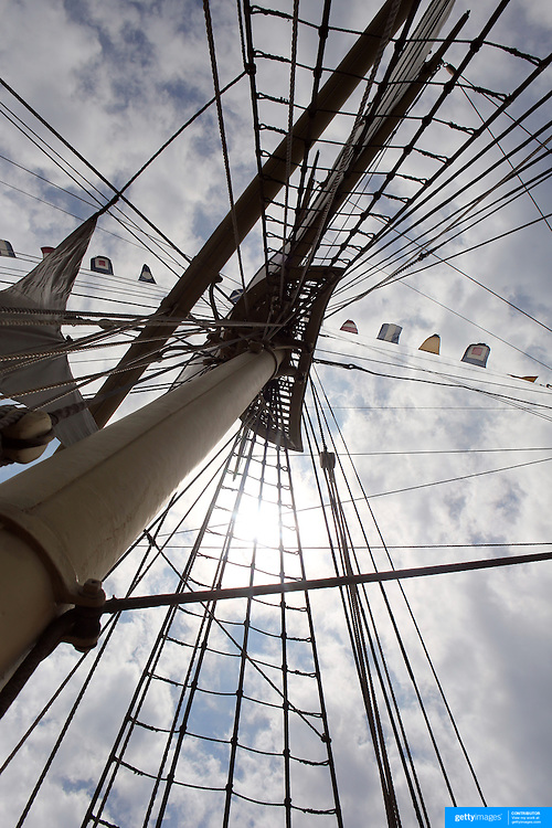 The rigging on the Joseph Conrad, the full- rigged ship at Mystic seaport. Mystic, Connecticut. 21st July 2013. Photo Tim Clayton