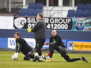 Luton Town goalkeepers James Shea and Marek Stech warm up before during the EFL Sky Bet League 2 match between Luton Town and Barnet at Kenilworth Road, Luton, England on 24 March 2018. Picture by Ian  Muir.