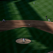 NEW YORK, NEW YORK - APRIL 30:  Pitcher Jacob deGrom #48 of the New York Mets pitching in the late afternoon sunlight during the New York Mets Vs San Francisco Giants MLB regular season game at Citi Field on April 30, 2016 in New York City. (Photo by Tim Clayton/Corbis via Getty Images)