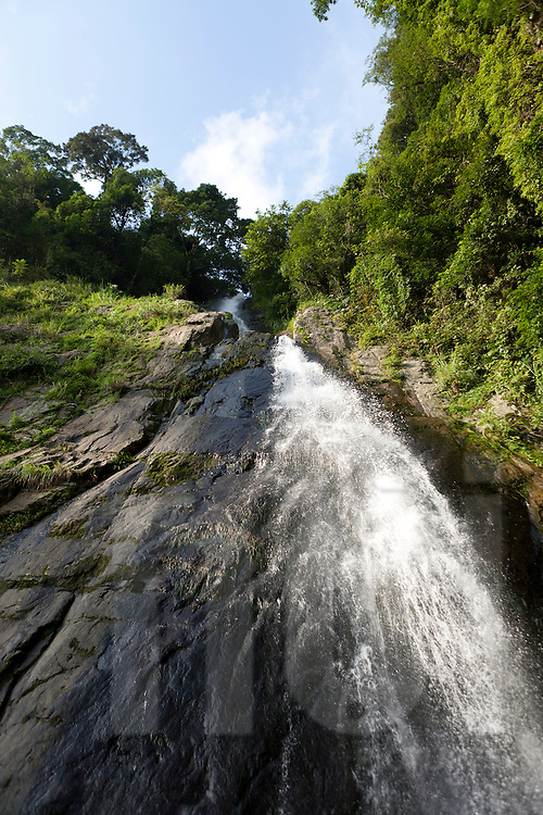 The Silver waterfall in Tam Dao by a sunny day. Vietnam, Asia