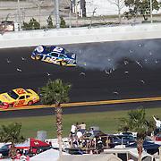 Sprint Cup Series driver Brad Keselowski (2) spins on the backstretch during the Daytona 500 at Daytona International Speedway on February 20, 2011 in Daytona Beach, Florida. (AP Photo/Alex Menendez)