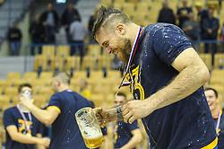 William Accambray of RK Pivovarna Lasko is celebrating after the handball match between RK Celje Pivovarna Lasko and RK Gorenje Velenje in last round of Liga NLB 2018/19, on May 31st, 2019, in Arena Zlatorog, Celje, Slovenia. RK Celje PL became Slovenian National Champion in year 2019. Photo by Milos Vujinovic / Sportida
