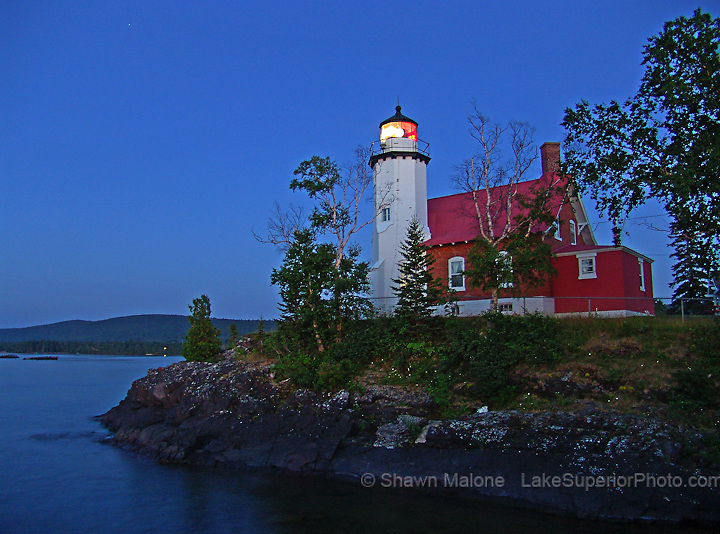 Eagle Harbor Lighthouse dusk lighthouses in the Upper Peninsula of Michigan