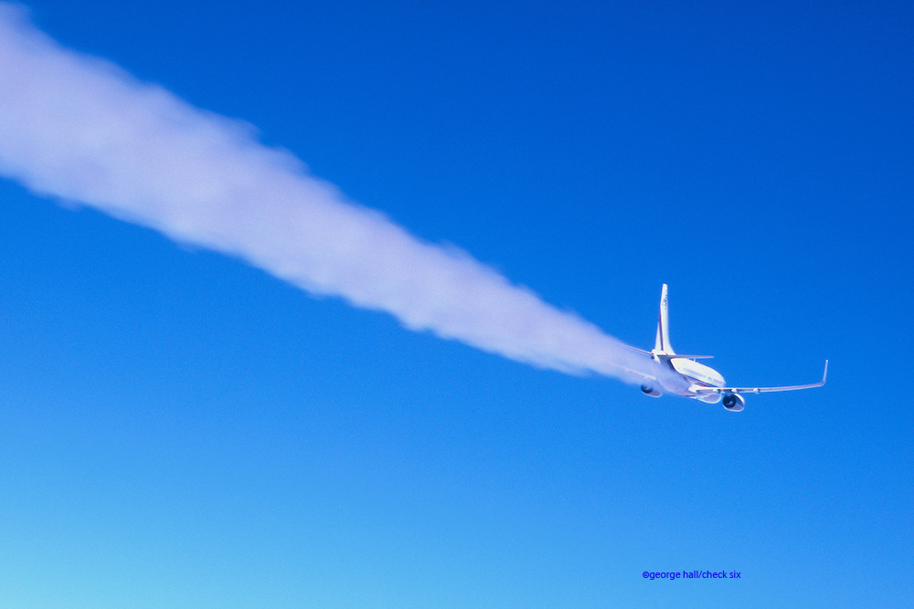High altitude airplane contrail